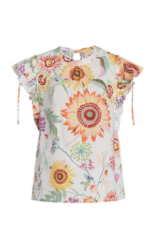 Olga Ruffled Printed Cotton Top
