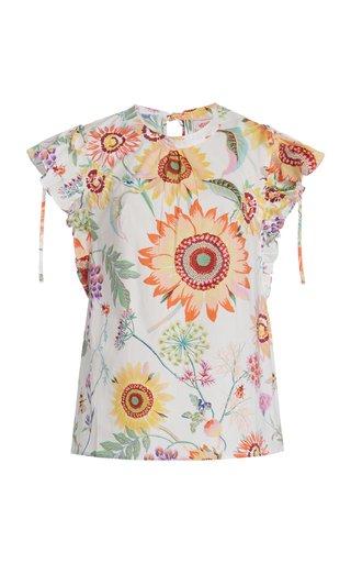 Olga Ruffled Printed Cotton Top