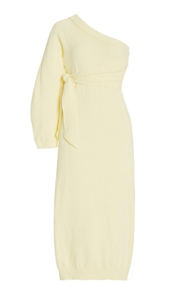 Cedro Cotton-Blend Terry One-Shoulder Dress