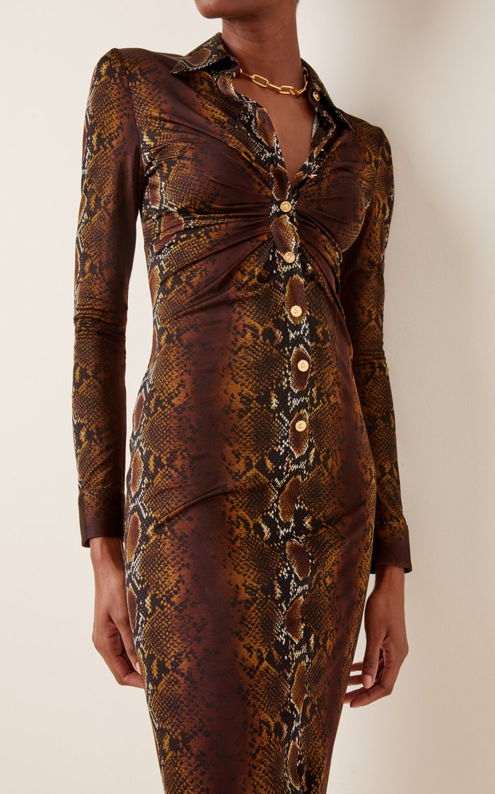 Ruched Python-Print Jersey Midi Dress