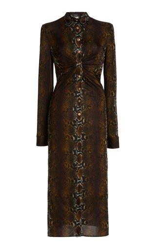 Ruched Python-Print Jersey Midi Dress