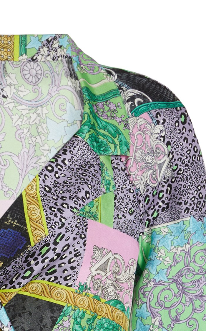 Cropped Patchwork-Print Silk Twill Tie-Front Shirt
