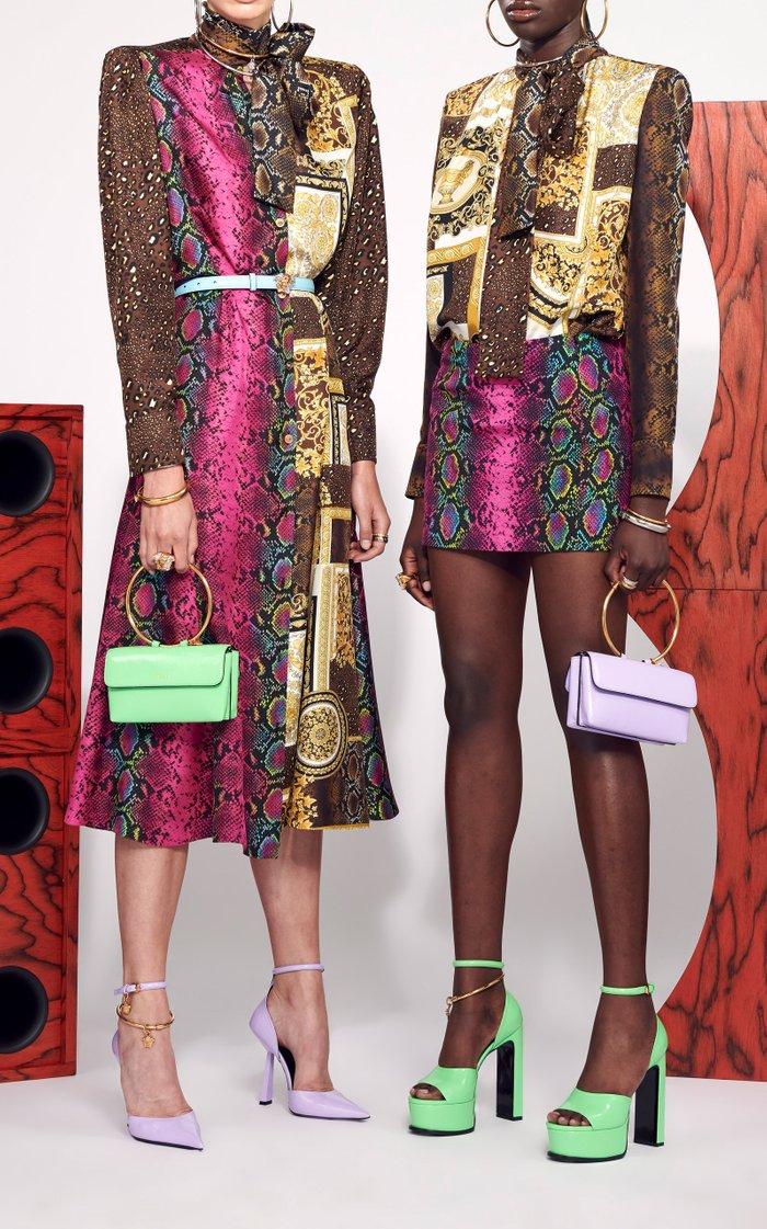 Belted Patchwork-Print Silk Twill Midi Dress