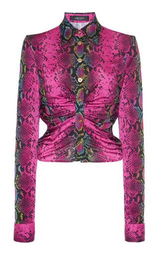 Ruched Python-Print Jersey Top