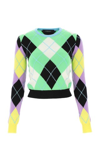 Argyle Intarsia-Knit Cashmere Cropped Sweater