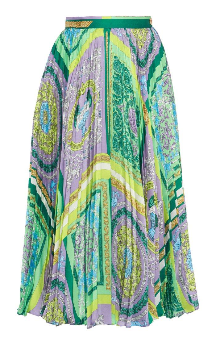 Pleated Heritage-Print Crepe Midi Skirt
