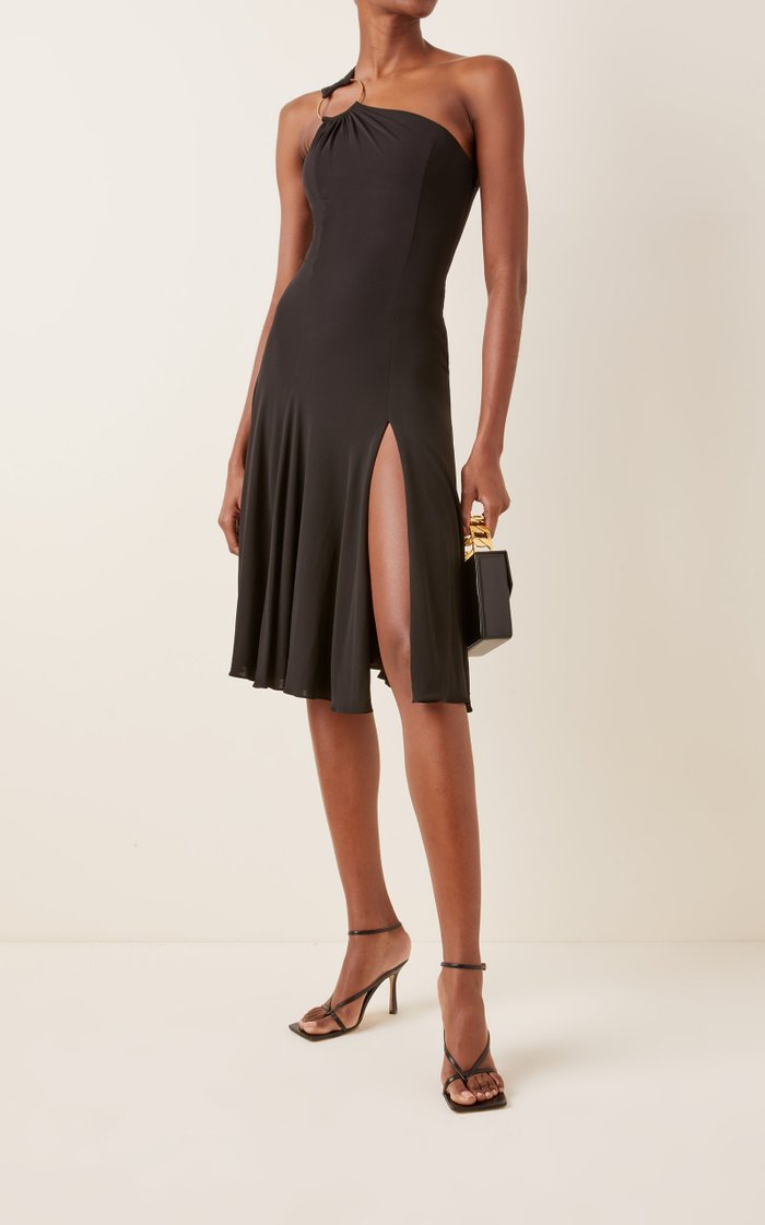 Ring-Detailed Jersey One-Shoulder Midi Dress