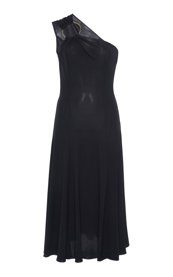Ring-Detailed Jersey One-Shoulder Midi Dress