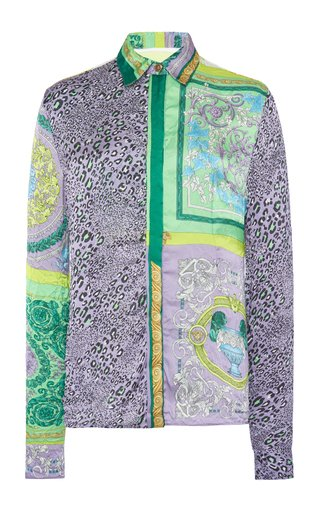 Fitted Mosaic-Print Crepe Shirt