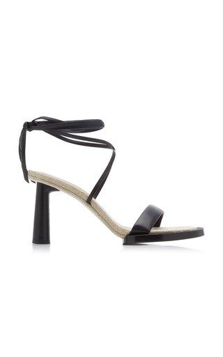 Les Carre Rond Asymmetric Leather Sandals