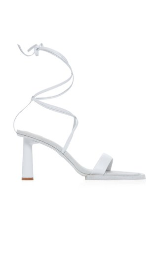 Les Carre Rond Asymmetric Leather Sandals