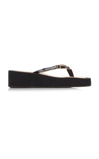 Les Tatanes Lin Leather Platform Sandals