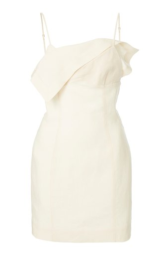 La Robe Draped Crepe Mini Dress