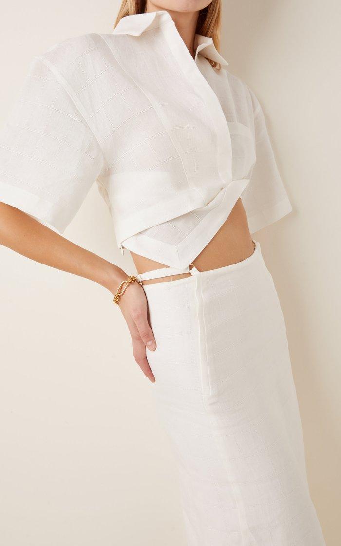 Capri Oversized Twisted Linen Cropped Shirt