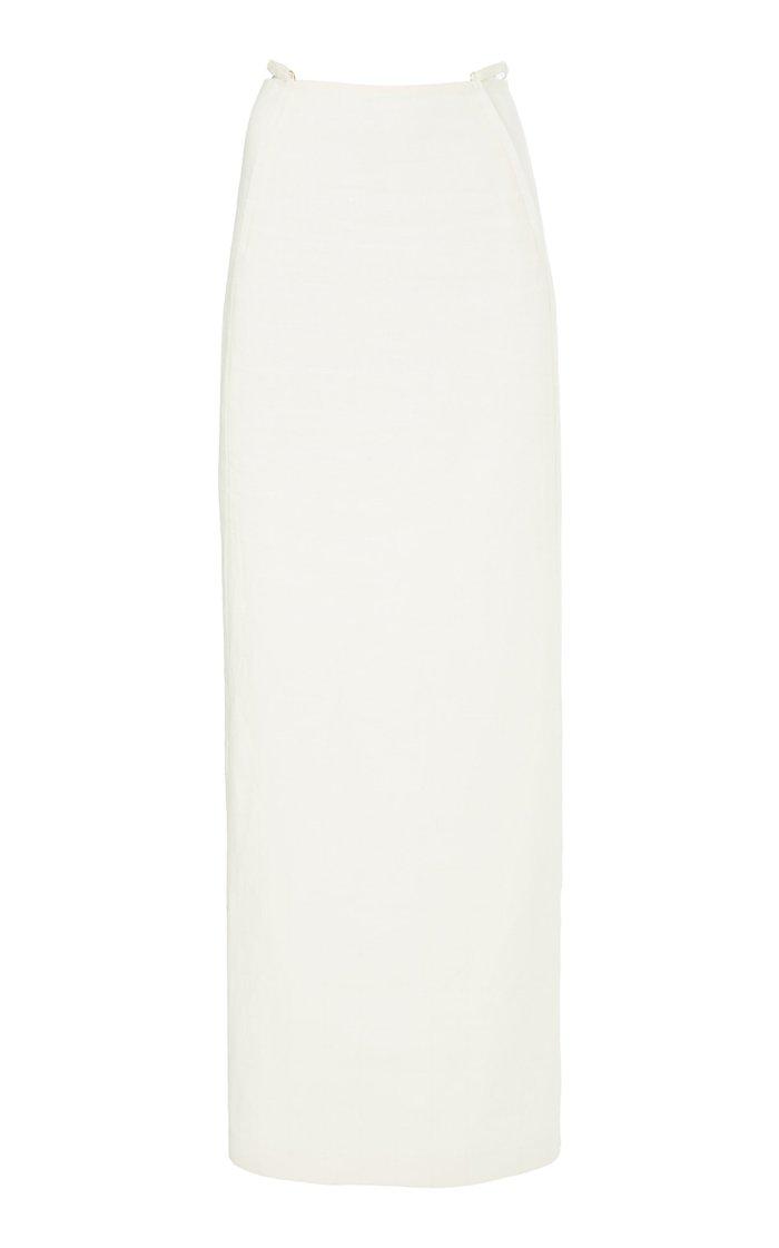 Novio Tie-Detailed Linen Maxi Skirt