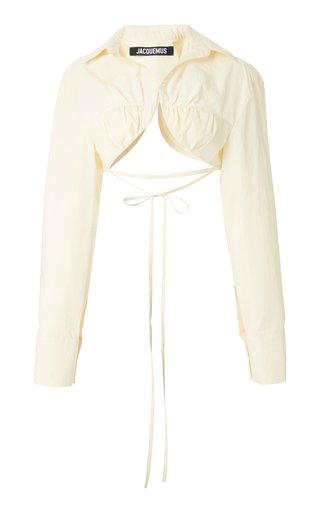 Baci Tie-Detailed Cotton-Blend Cropped Shirt