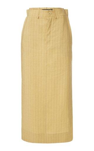 Terraio Tie-Detailed Striped Linen Maxi Skirt