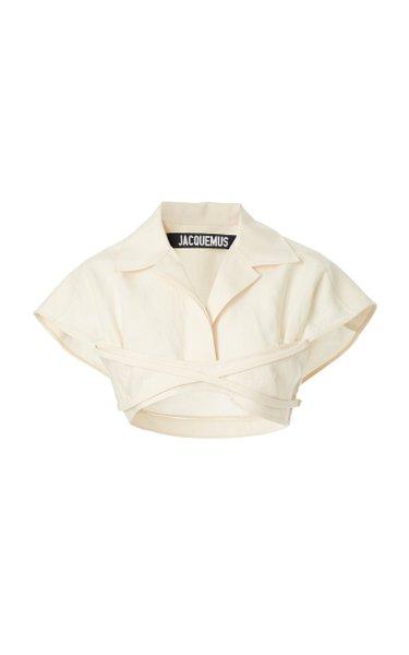 Santon Tie-Detailed Linen-Blend Cropped Shirt