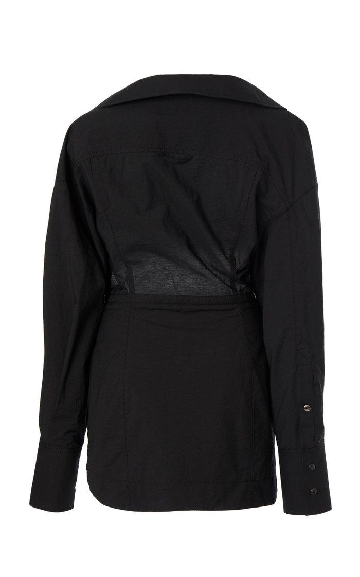 Terraio Cutout Cotton-Blend Poplin Mini Dress