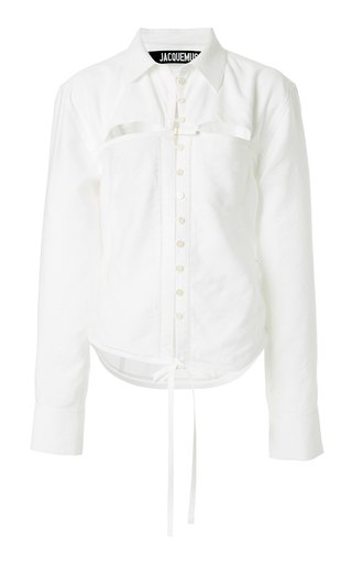 Nappe Tie-Detailed Cutout Poplin Shirt