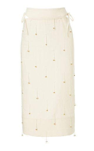Ble Fringe-Embellished Linen Midi Skirt