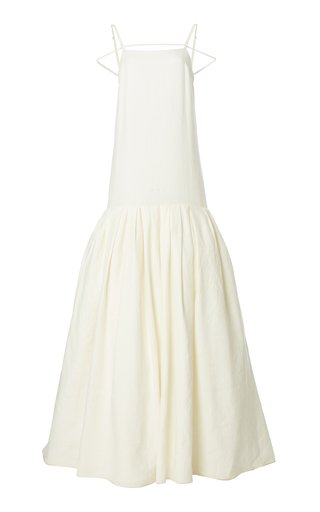 Amour Tie-Detailed Tiered Linen Gown