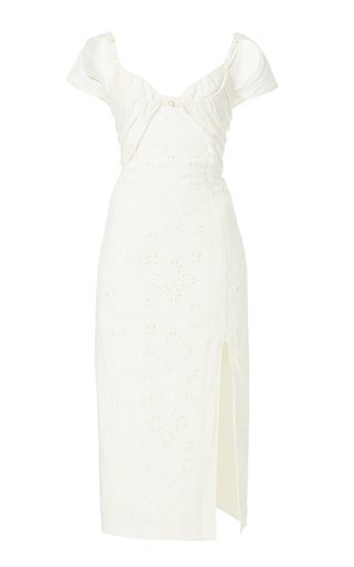 Tovallo Layered Broderie Anglaise Linen-Blend Midi Dress