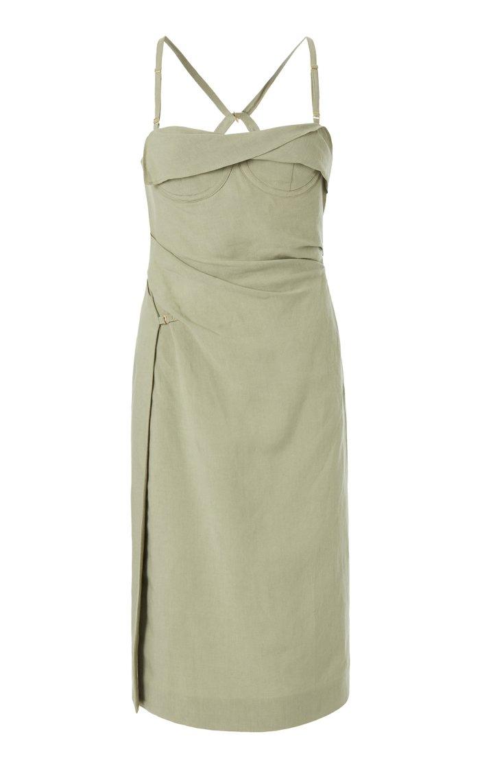 Laurier Draped Linen-Blend Midi Corset Dress