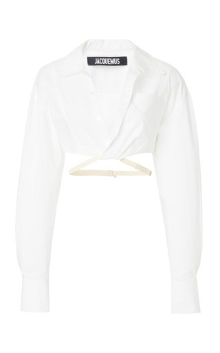 Laurier Tie-Detailed Cotton Cropped Shirt