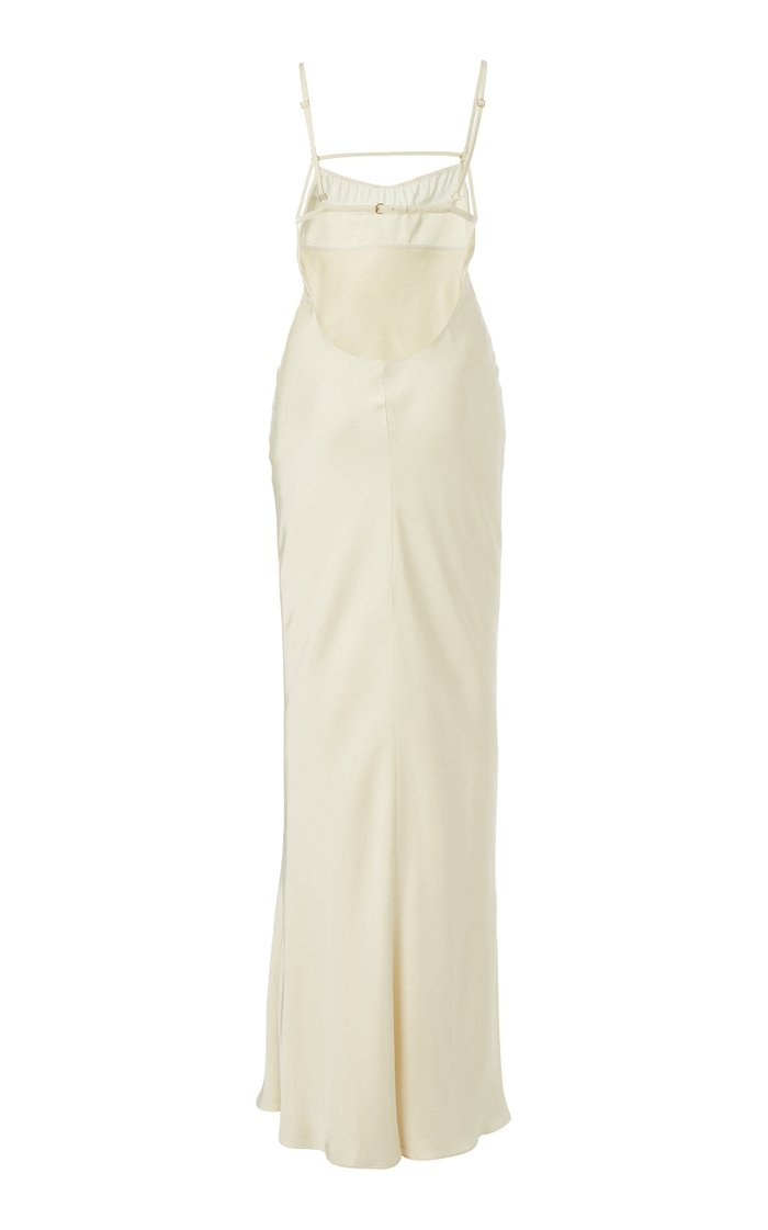 Novio Tie-Detailed Satin Gown