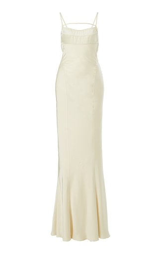 Novio Tie-Detailed Satin Gown