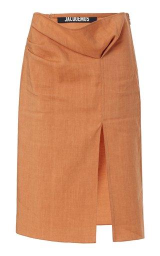 Drap Tie-Detailed Pleated Hemp-Blend Midi Skirt