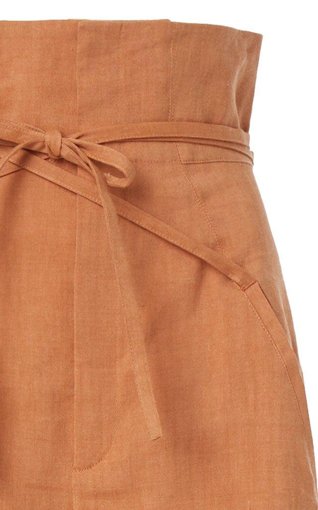 Novio Belted High-Rise Hemp-Blend Wide-Leg Pants