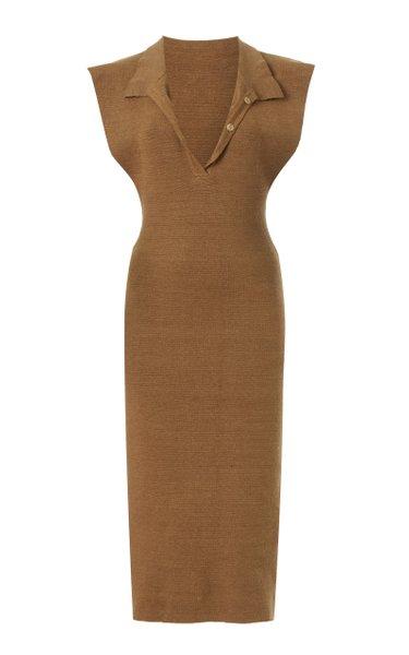 Santon Knit Linen Midi Polo Dress