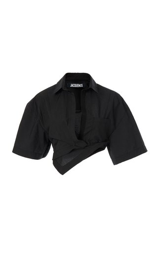 Capri Oversized Twisted Cotton-Blend Cropped Shirt