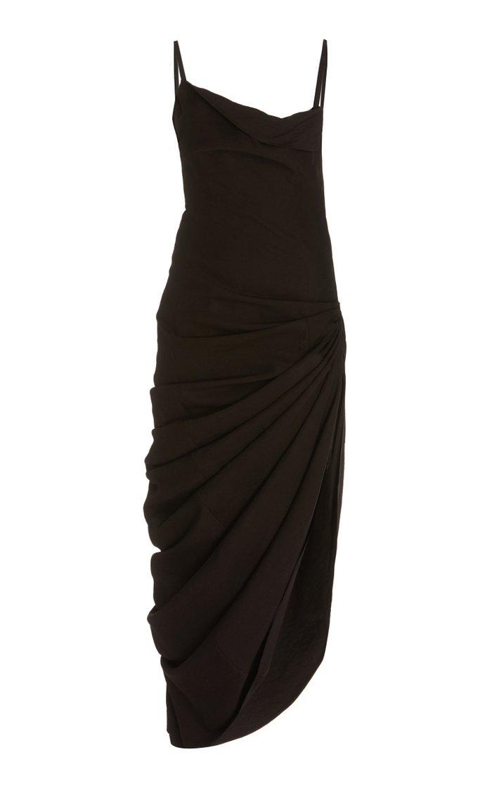 Sauade Asymmetric Draped Satin Maxi Dress