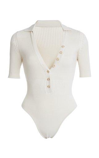 Yauco Ribbed-Knit Polo Bodysuit