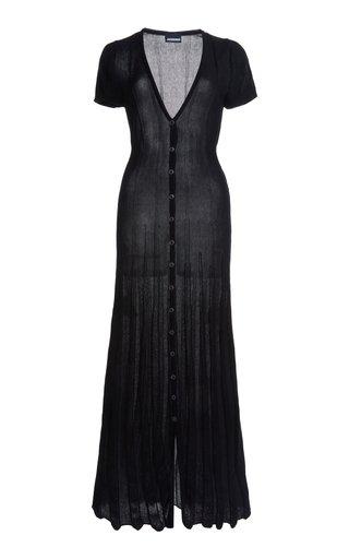 Cardigan Cotton-Blend Knit Midi Dress