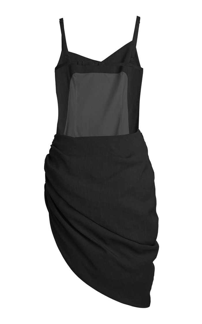 Saudade Asymmetric Draped Hemp-Blend Mini Dress