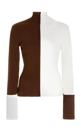 Two-Tone Rib-Knit Wool-Blend Turtleneck Top