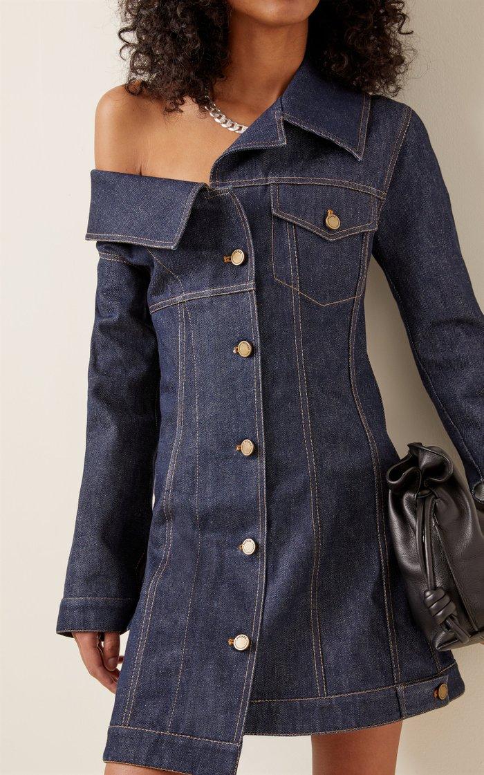 Asymmetric Denim Mini Dress