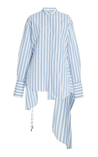 Draped Striped Cotton Shirt