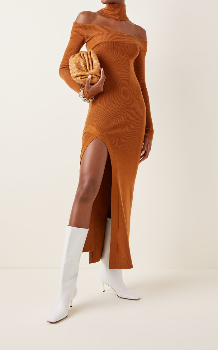 Off-The-Shoulder Wool-Blend Maxi Dress