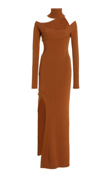 Off-The-Shoulder Wool-Blend Maxi Dress