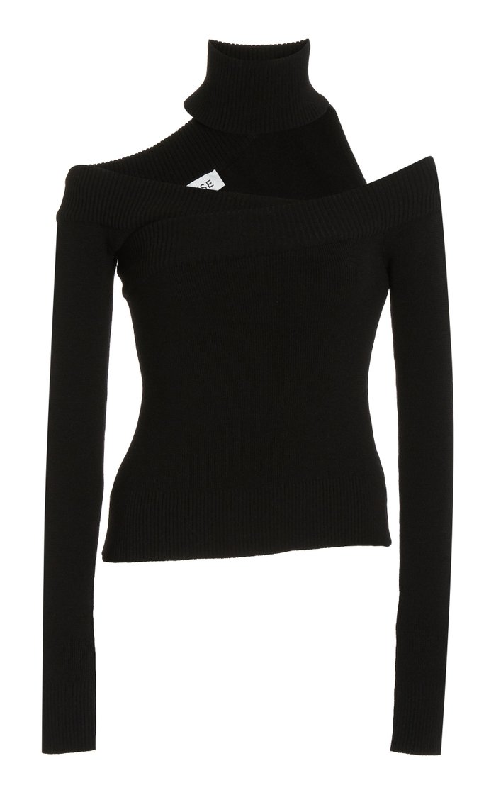 Off-The-Shoulder Wool Turtleneck Top
