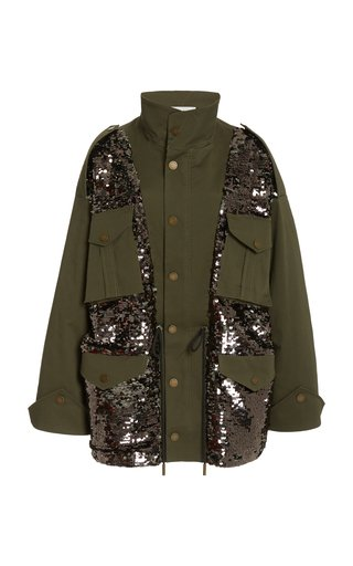 Oversized Sequined Cotton Twill Field Jacket