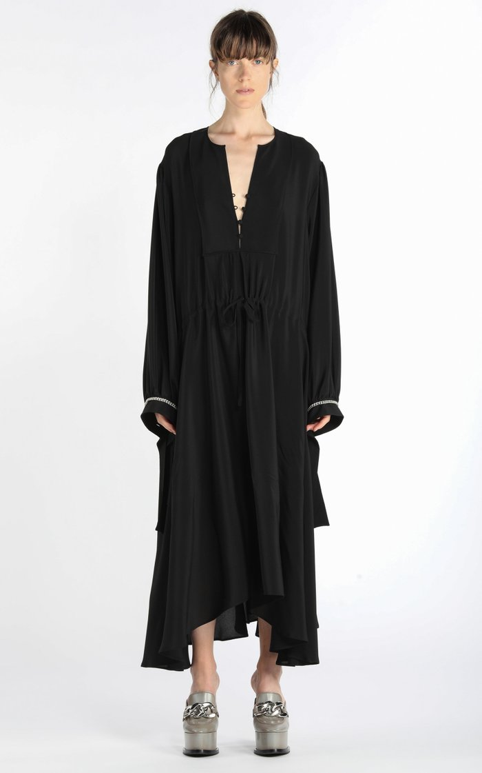 Oversized Chain-Detailed Georgette Midi Dress