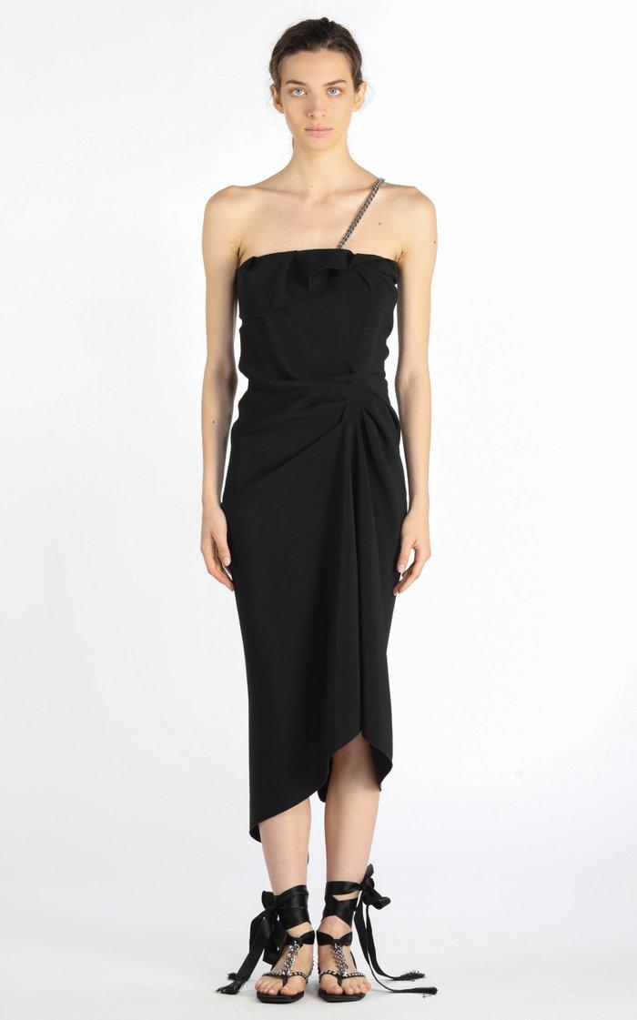Asymmetric Chain-Detailed Draped Crepe Midi Dress