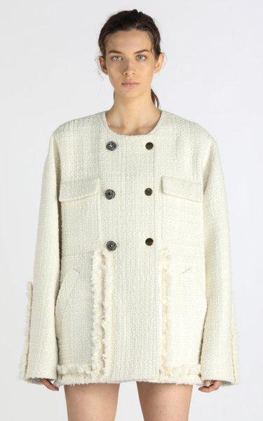 Oversized Fringed Tweed Double-Breasted Jacket