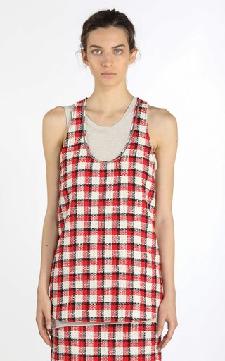 Chain-Detailed Checked Tweed Top